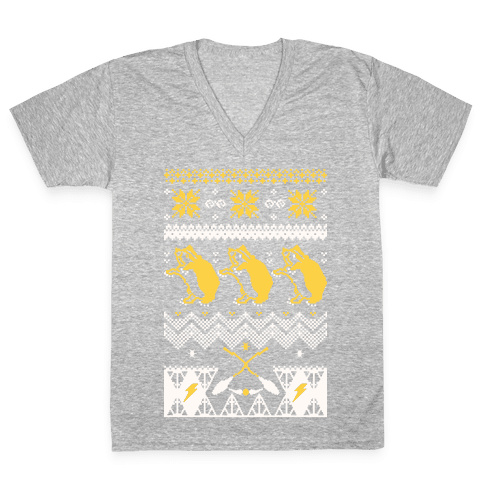 Hogwarts Ugly Christmas Sweater: Hufflepuff V-Neck Tee Shirt