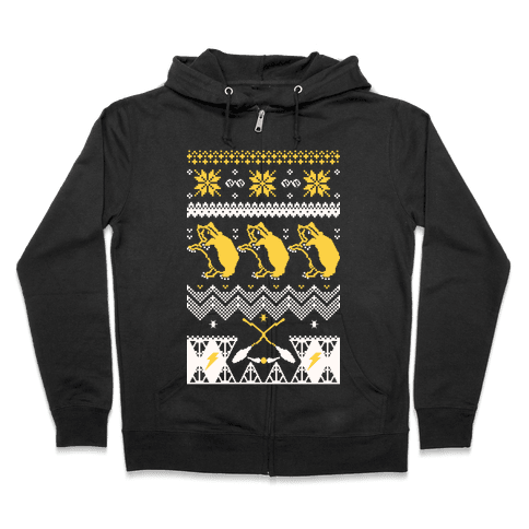 Hogwarts Ugly Christmas Sweater: Hufflepuff Zip Hoodie