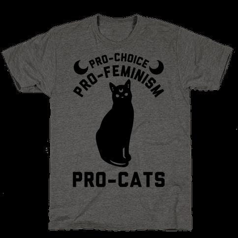 Pro-Choice Pro-Feminism Pro-Cats Mens T-Shirt