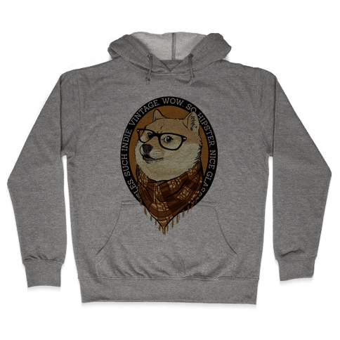 Hipster Doge Hooded Sweatshirt