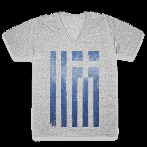 Vintage Greek Flag V-Neck Tee Shirt