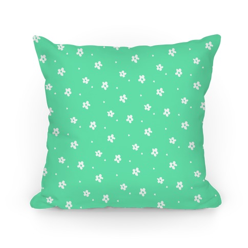 Mint Dainty Floral Pattern Pillow