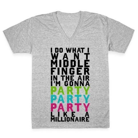 Party Party Party V-Neck Tee Shirt