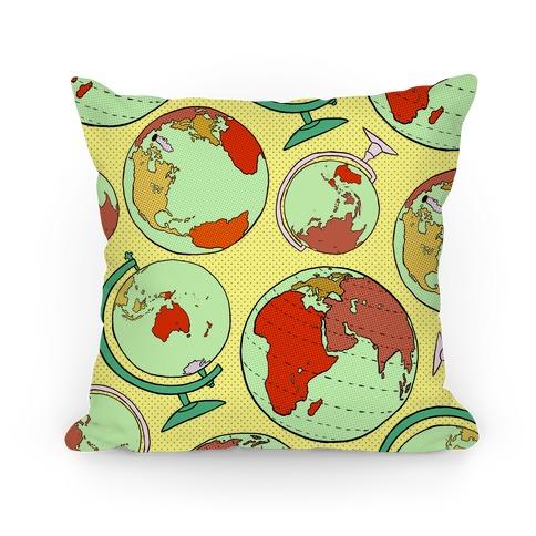 Wanderlust World Globe Pattern Pillow