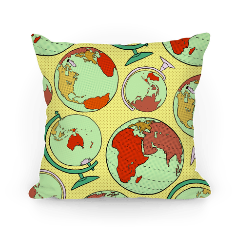 Wanderlust World Globe Pattern Pillow