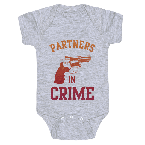Partners in Crime (Red) Baby Onesy