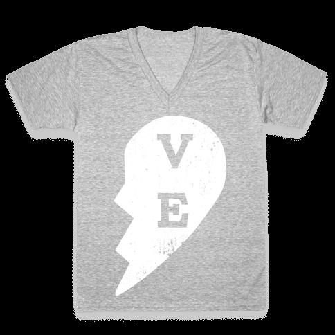 "Love ""ve"" Couples Shirt V-Neck Tee Shirt"