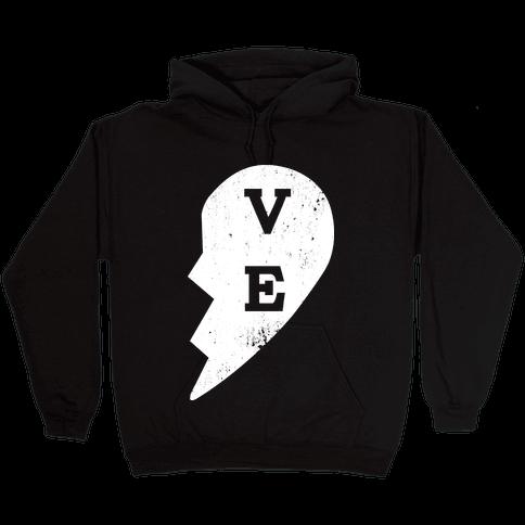 "Love ""ve"" Couples Shirt Hooded Sweatshirt"