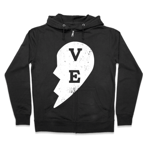 "Love ""ve"" Couples Shirt Zip Hoodie"