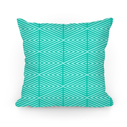 Teal Geometric Diamond Pattern Pillow