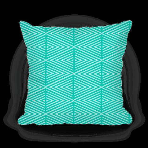 Teal Geometric Diamond Pattern Pillow