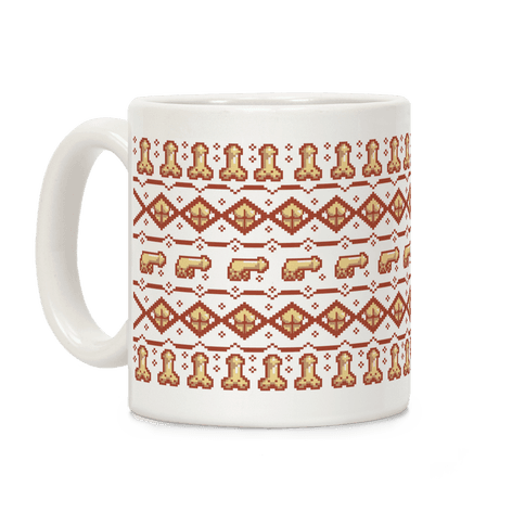 Dicks and Butts Ugly Sweater Pattern Coffee Mug