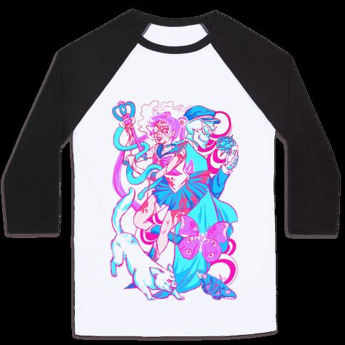 Rainbow Horror Senshi Parody Baseball Tee
