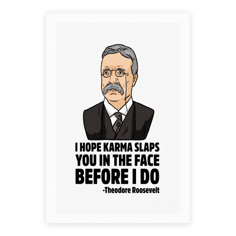 I Hope Karma Slaps You In The Face Before I Do -Teddy Roosevelt Poster