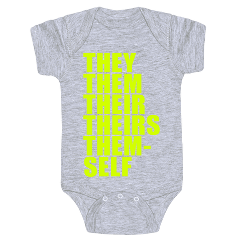 Gender Pronoun Guide Baby Onesy