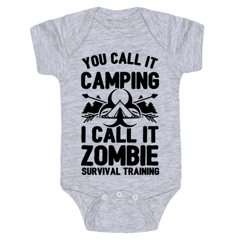 Camping is Zombie Survival Training Baby Onesy