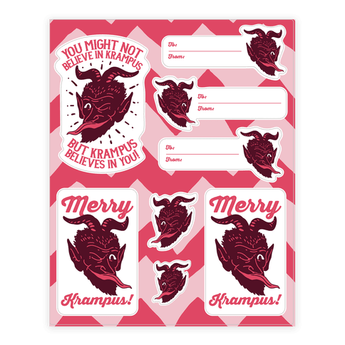Merry Krampus Christmas  Sticker/Decal Sheet