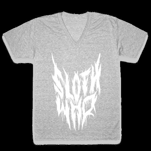Sloth Who (Metal) V-Neck Tee Shirt