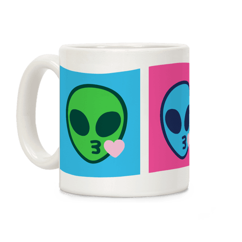Blowing Kiss Alien Emojis Coffee Mug