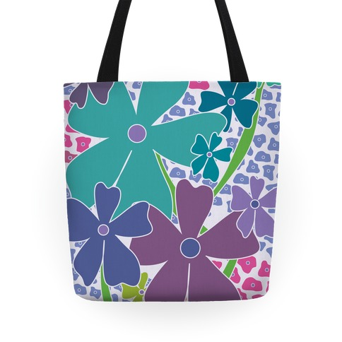 Purple Happy Flowers Pattern Tote