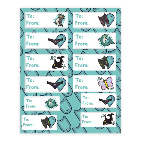 Swimming Anime Mascot Gift Tags Sticker and Decal Sheet
