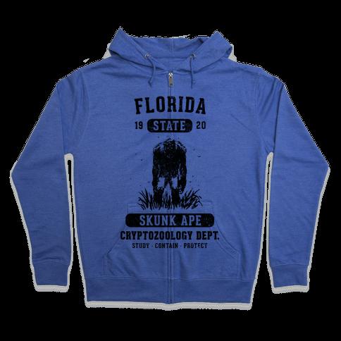 Florida Skunk Ape Cryptozoology Zip Hoodie