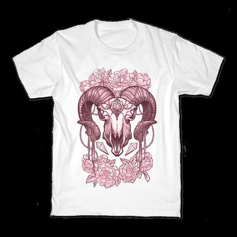 Flowery Ram Skull Kids T-Shirt