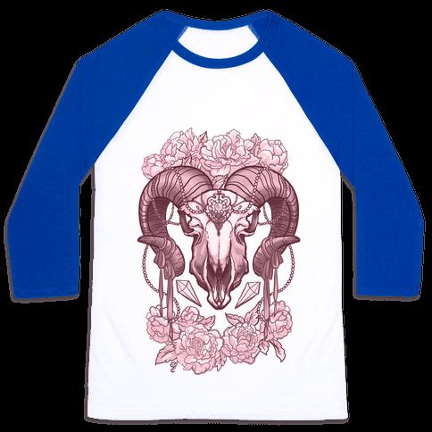 Flowery Ram Skull Baseball Tee