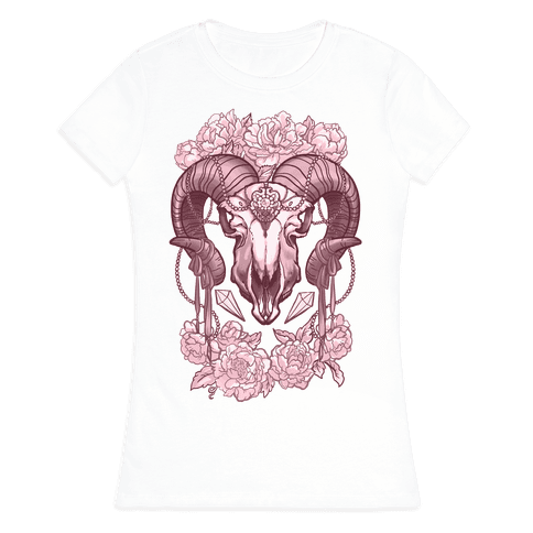 Flowery Ram Skull Womens T-Shirt