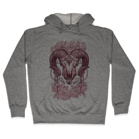 Flowery Ram Skull Hooded Sweatshirt
