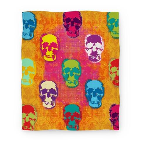 Retro Pop Art Skull Blanket Blanket
