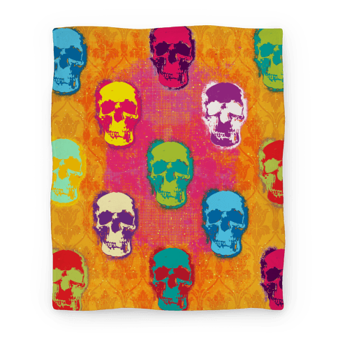 Retro Pop Art Skull Blanket Blanket
