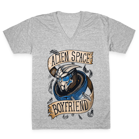 Alien Space Boyfriend Garrus Parody V-Neck Tee Shirt