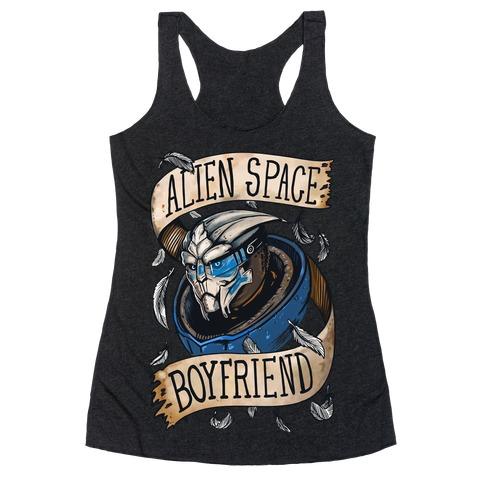 Alien Space Boyfriend Garrus Parody Racerback Tank Top