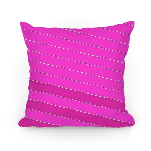 Pink Diagonal Dashed Stripes Pattern Pillow