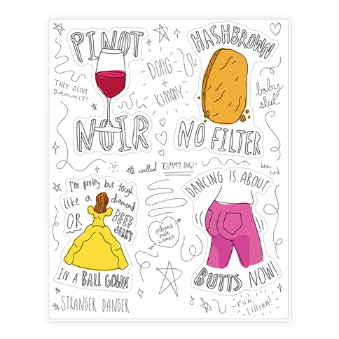 Kimmy Schmidt Illustrated Quote Sticker/Decal Sheet