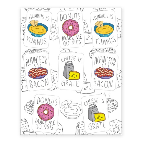 Cute Snack Pun  Sticker/Decal Sheet