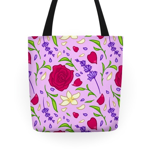 Tea Leaves And Flowers Pattern Tote