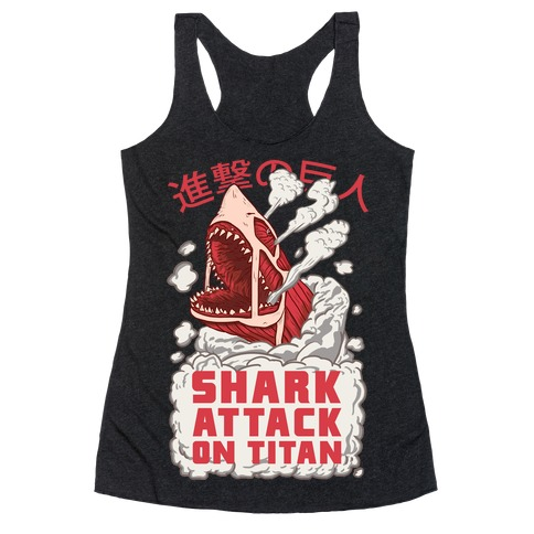 Shark Attack On Titan Racerback Tank Top