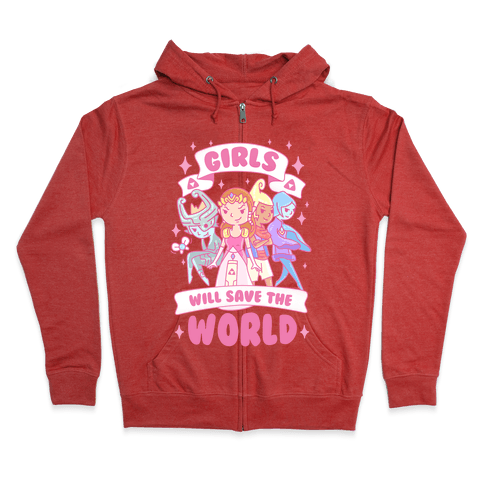 Zelda Girls Will Save The World Parody Zip Hoodie