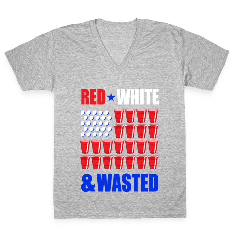 Red, White & Wasted V-Neck Tee Shirt
