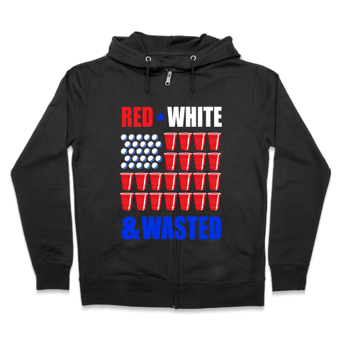 Red, White & Wasted Zip Hoodie