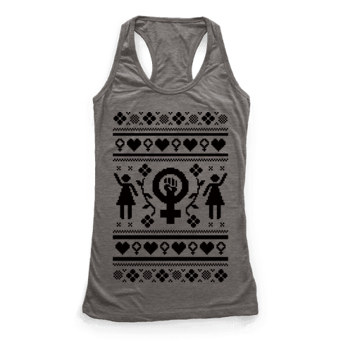 Girl Power Ugly Sweater  Racerback Tank Top