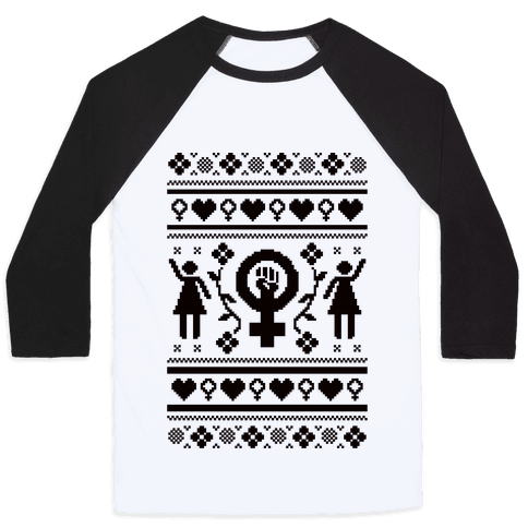 Girl Power Ugly Sweater  Baseball Tee