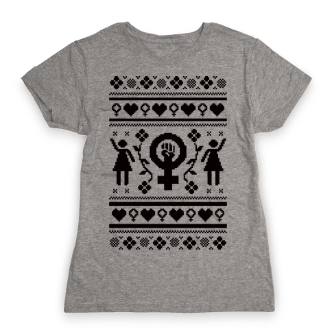 Girl Power Ugly Sweater  Womens T-Shirt