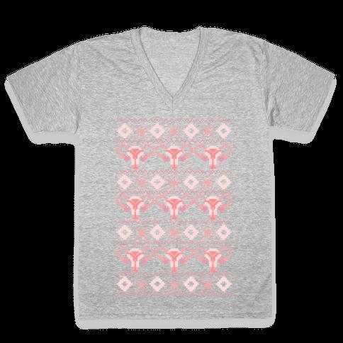 Cuterus Uterus Pattern V-Neck Tee Shirt