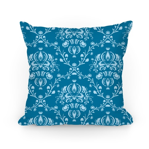 Blue Damask Pattern Pillow Pillow