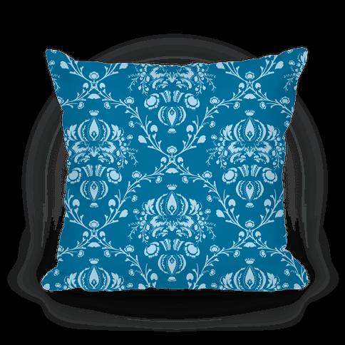 Blue Damask Pattern Pillow Pillow