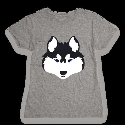 Siberian Husky Face Womens T-Shirt