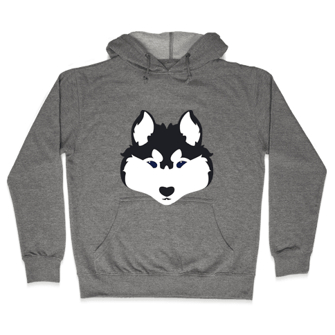Siberian Husky Face Hooded Sweatshirt